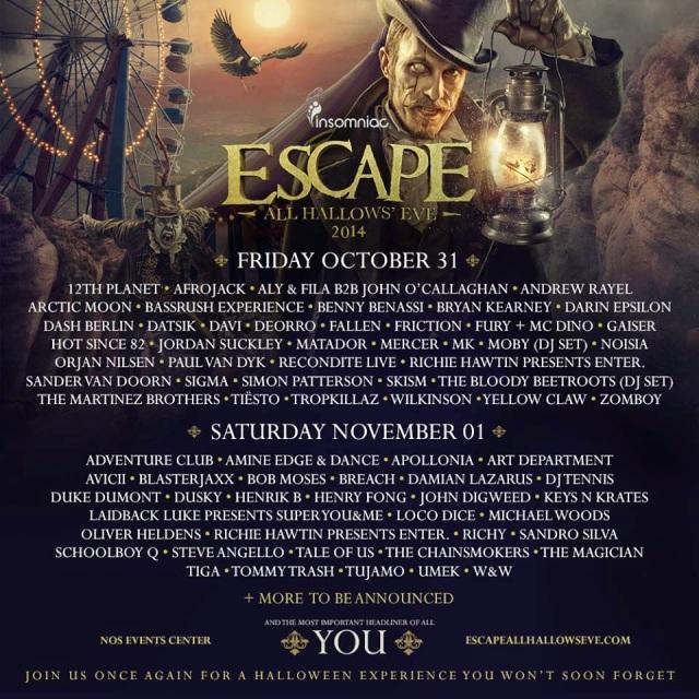 Escape From Wonderland 2014 Tickets | Lineup Fri. Oct. 31st & Sat. Nov. 1st 2014